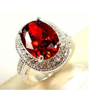 NEW 925 Sterling Silver Red Stone Ring